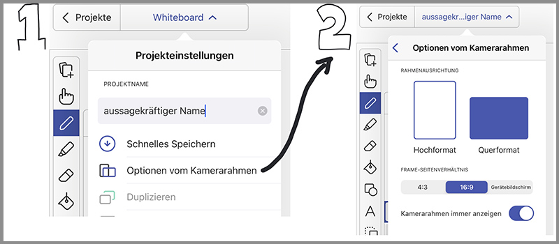 Screenshot: geeignete Projekteinstellungen für ein Explain-Everything-Projekt (Projektnahme und Optionen für Kamerarahmen)