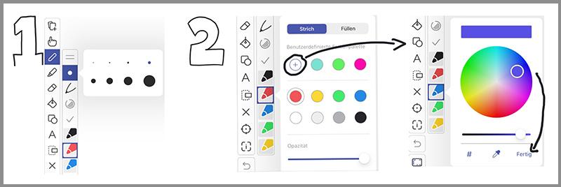 ausgewählte Möglichkeiten zur Anpassung des Stifts (drei Screenshots aus Explain Everything)